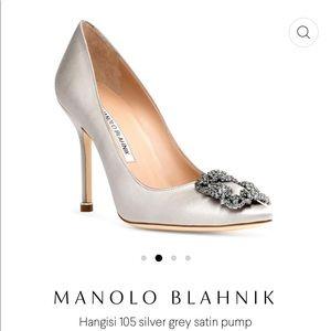 MANOLO BLAHNIK Hangisi 105 silver grey satin pump
